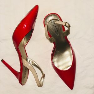 GUESS red slingback pointed toe pumps
